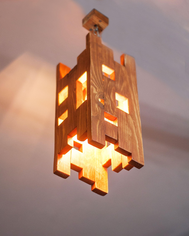 Wood hanging lamp, Pendant light, Wood lamp, Wooden lamp