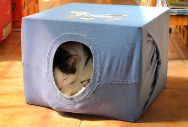 Scrappy Chick Designs: Mommau0027s DIY T Shirt Cat House~ Cut The Flaps Off A  Cardboard Box Then Cover Snuggly With A T Shirt, Pin To Keep It Tidy.