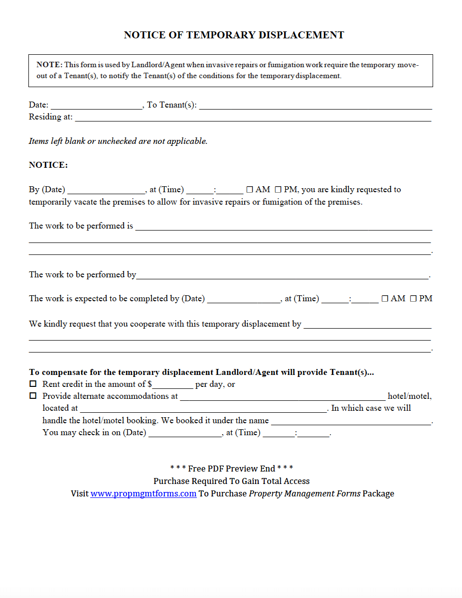 Notice Of Temporary Displacement Pdf  Property Management Forms