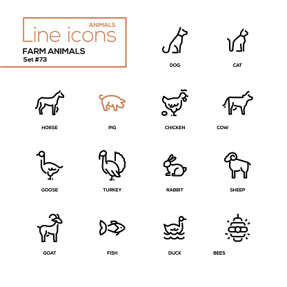 Farm Animals Icons Vector Image On Vectorstock Animal Icon Animals Animal Illustration