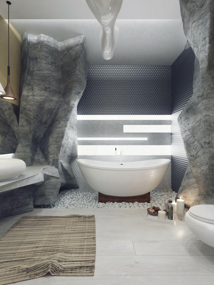 Entzuckend Die Luxus Badewanne Steht Auf Kieselsteinen Für Ein Spa Feeling