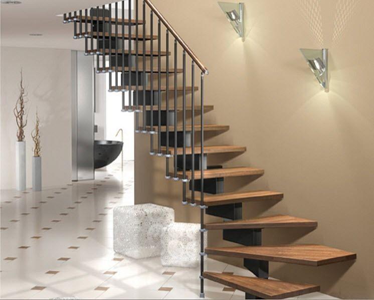Escalera en l con zanca central modular estructura - Peldanos escalera madera ...