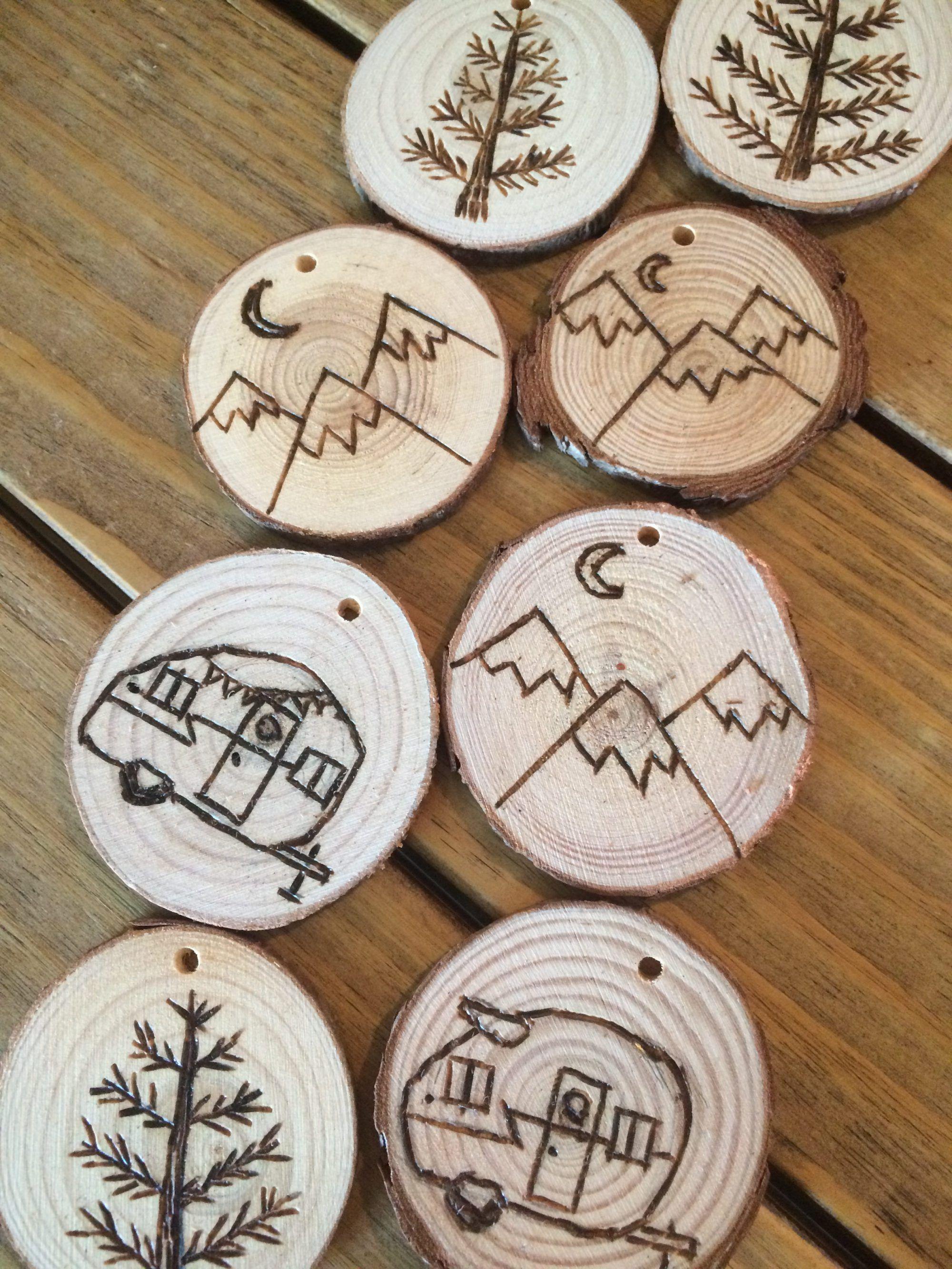 DIY Wood Burned Log Slice Ornaments Wood burning art