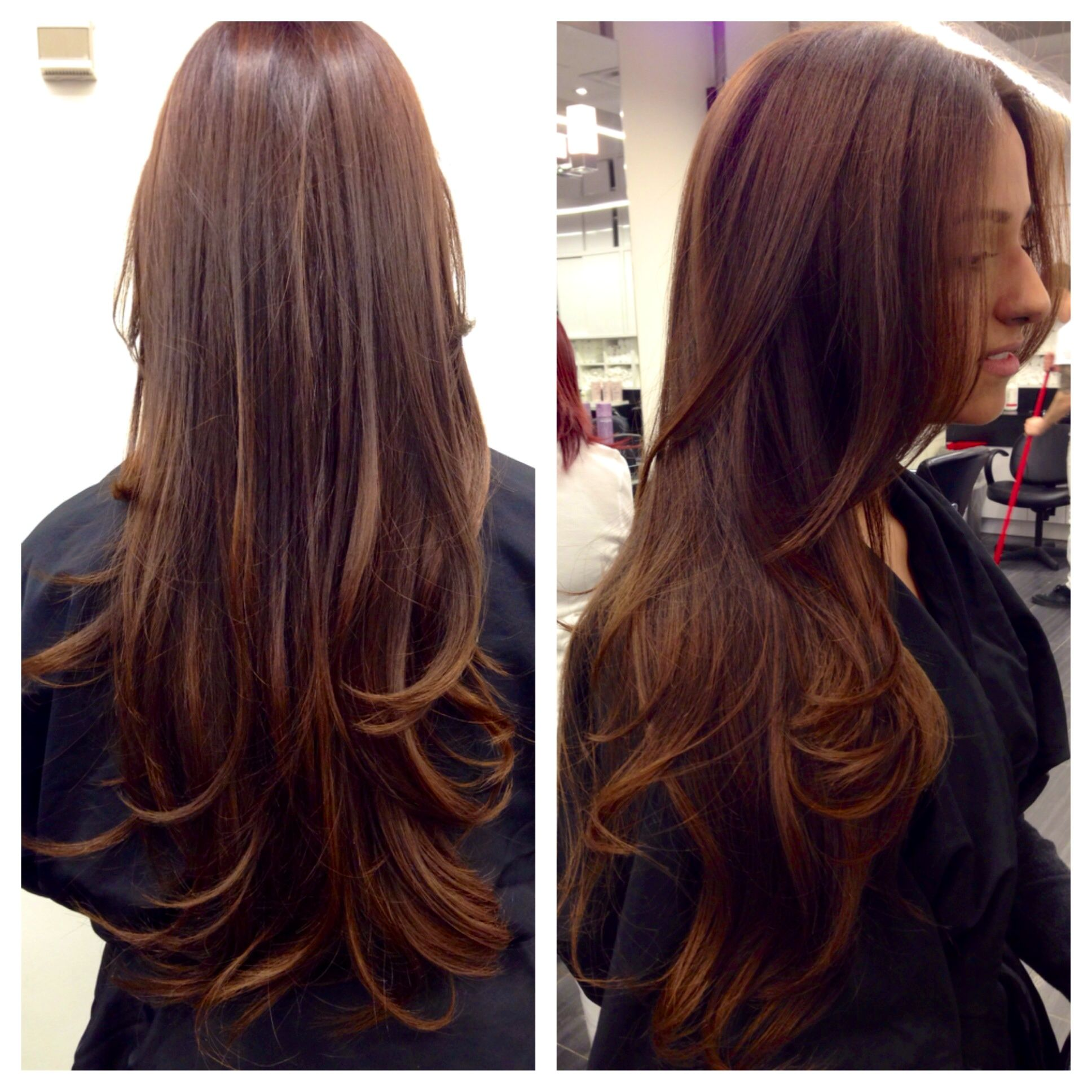 Sombre done by Catherine. Natural Medium Brown with warm Caramel Highlighting. cool hair, latest hair trend, blow dry, hair stylist, hair color, color trends, Sombre, long hair, styles, Fiorio Hair