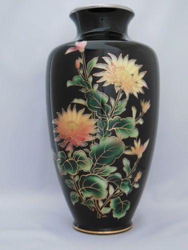 Japanese Antique Cloisonne Vase Beautiful Flower Diagram