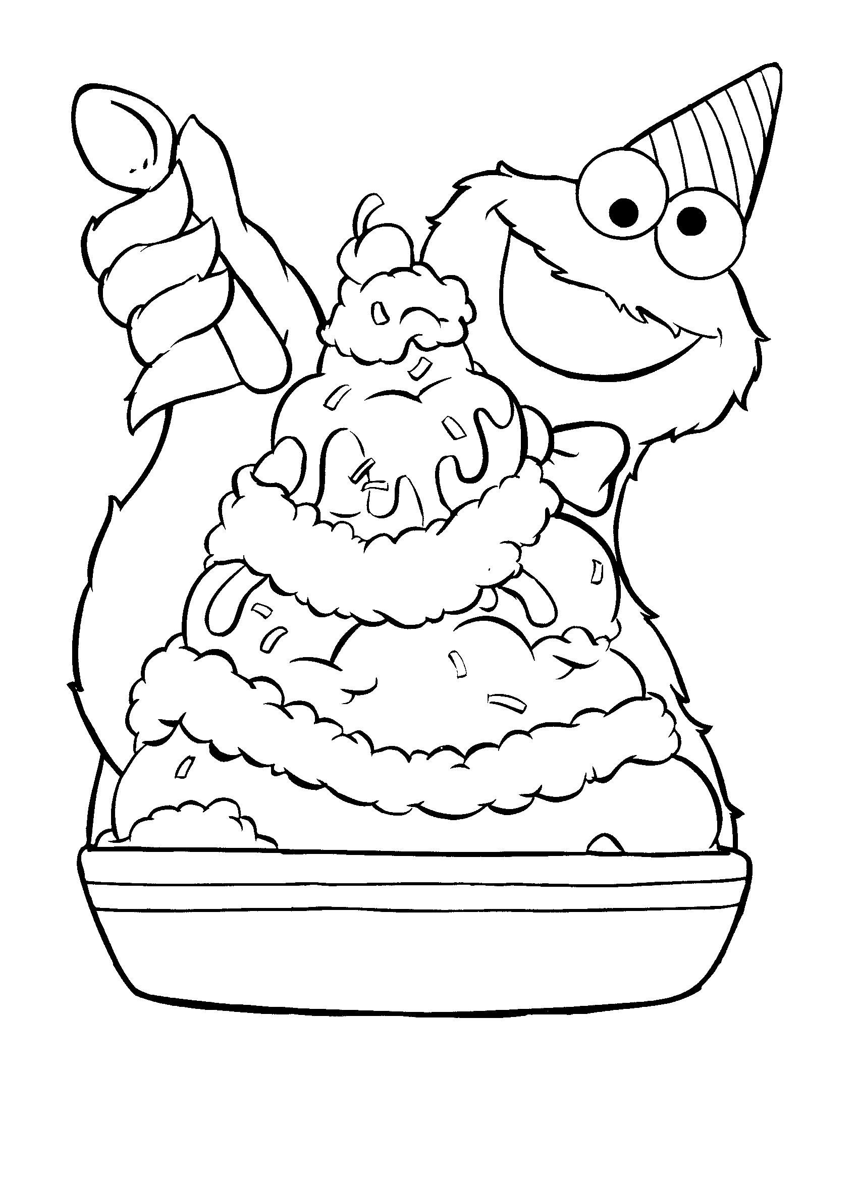 Cookie monster ice cream sundae coloring pages for Cookie monster coloring pages printable