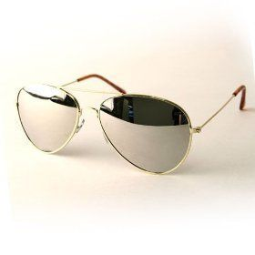 only Gold with Pouch Lens Frame Aviator 3 Mirror 20 for Sunglasses 8waXqU