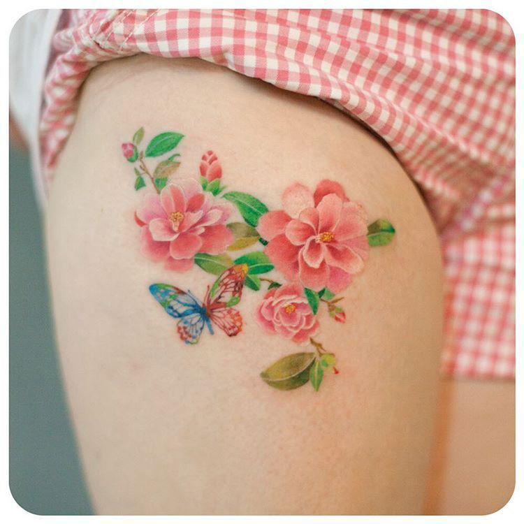 """camellia & butterfly  #타투이스트리버 #타투 #그라피투 #tattoo #graffittoo #수채화타투 #watercolortattoo"""