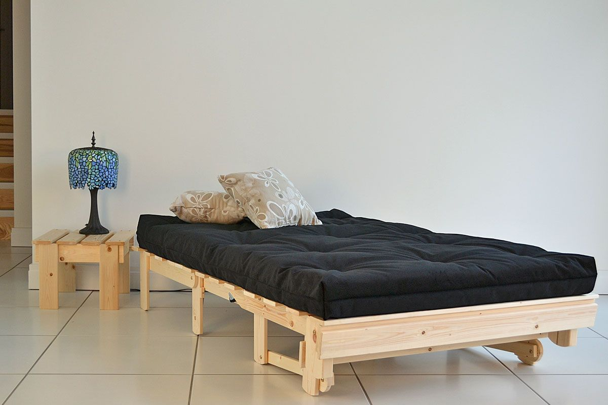 The Traditional Futon Sofabed Converts To A Bed With Normal Height