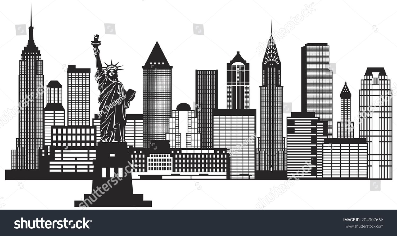 New York City Skyline With Statue Of Liberty Black And White