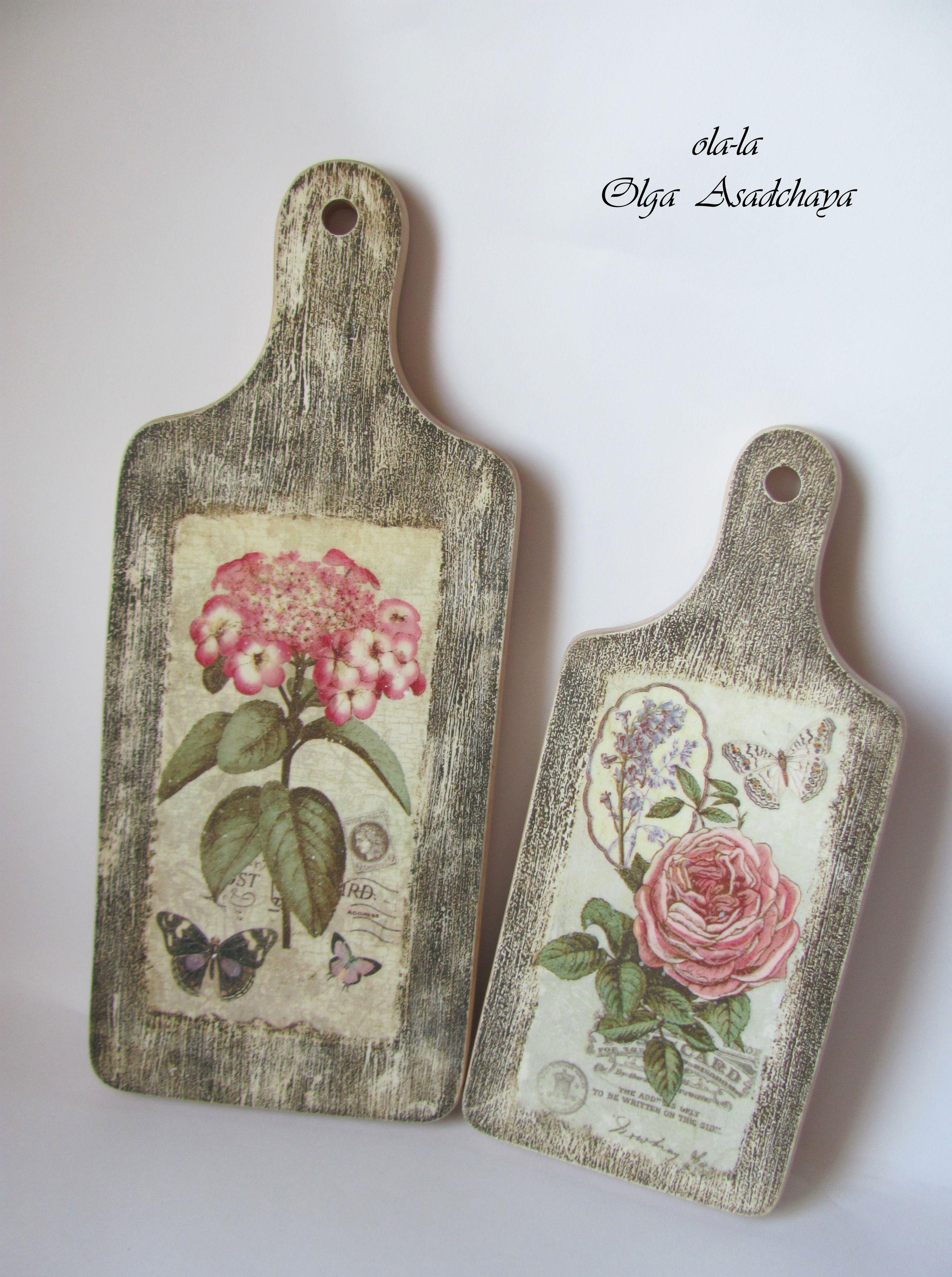 Tablas de cortar pintadas con decoupage manualidades diy - Decorar tabla madera ...