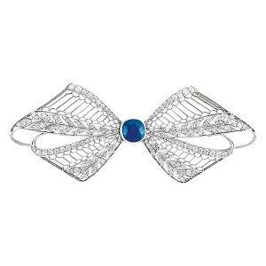 Edwardian Platinum, Sapphire and Diamond Filigree Bow Brooch, Tiffany & Co. - Doyle