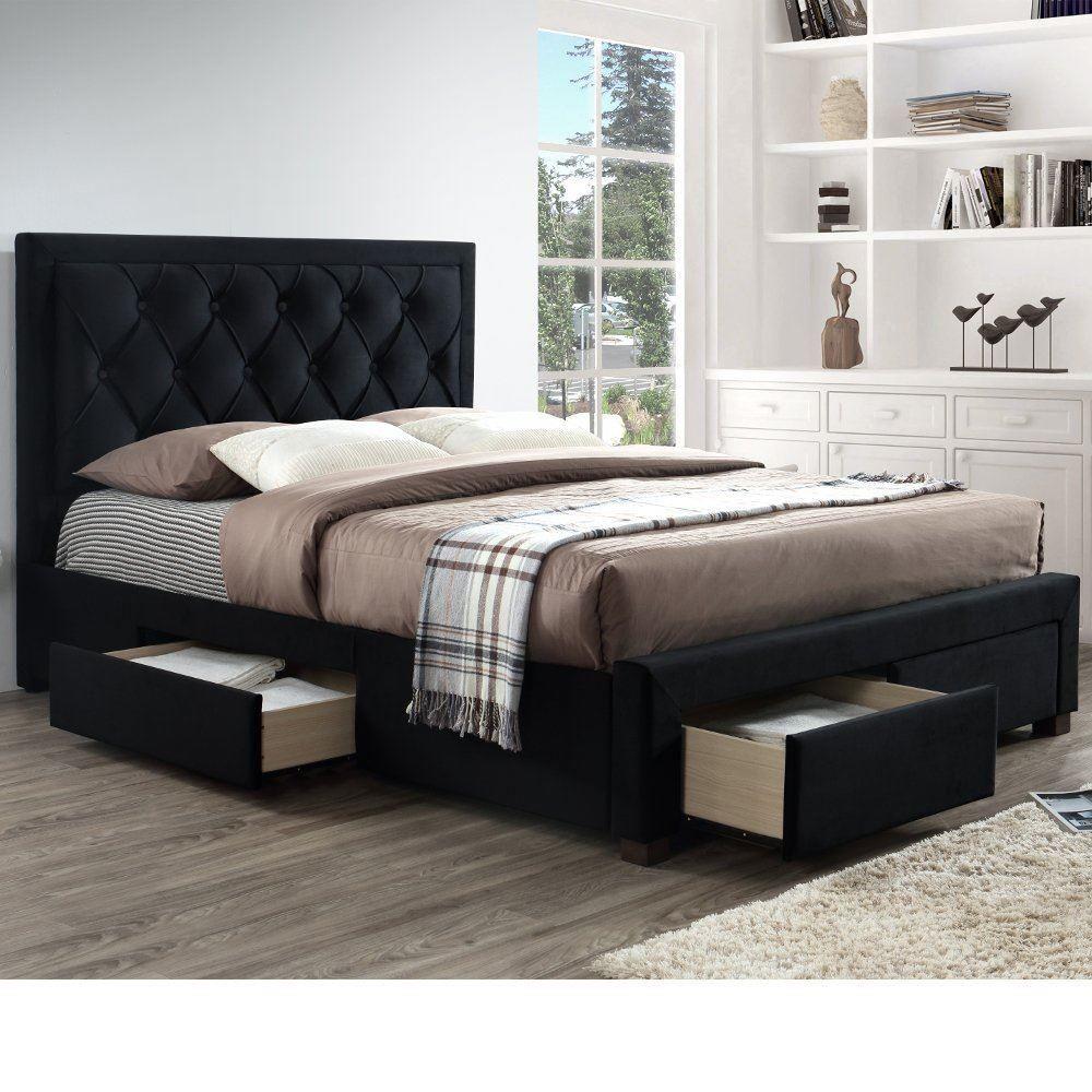 Woodbury Black Velvet Fabric 4 Drawer Storage Bed Frame 6ft