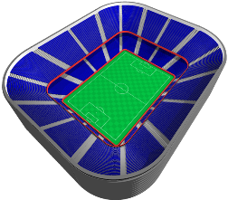 Stadium With Rounded Square Feel Football Stadium Concept