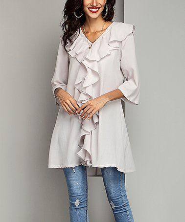 This Off-White Chiffon Ruffle-Front Tunic is perfect! #zulilyfinds