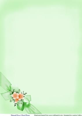 366e2259959 Floral Bow Background Sheet Green on Craftsuprint - Add To Basket!