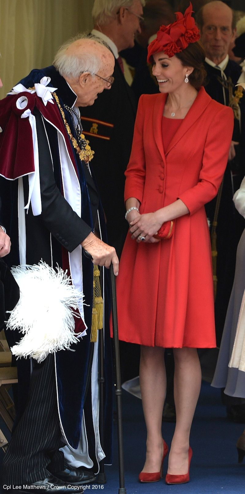 ecdea791d1b Kate Middleton wears red coat and dress by Catherine Walker for the Order  of the Garter ceremony