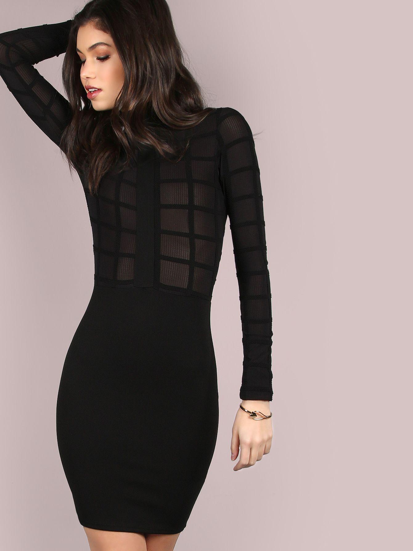 Mesh grid turtleneck dress black makemechiccom make me