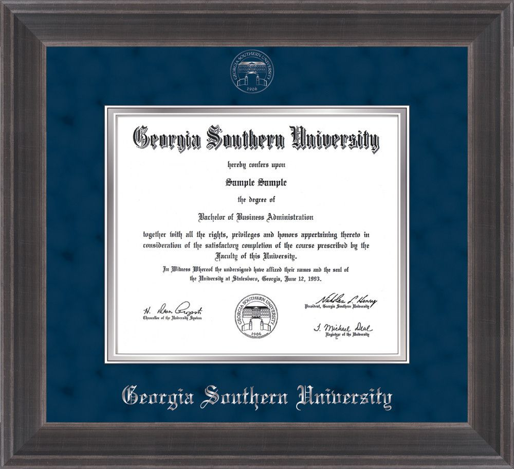 southern university diploma frame metro antique pewter   southern u diploma frame metro pewter seal navy on silver professional