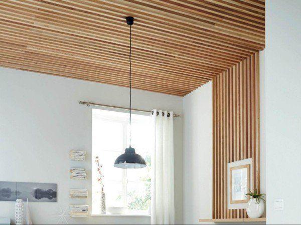Comment Realiser Un Plafond En Tasseaux Tasseau Bois Bardage Bois Interieur Tasseau