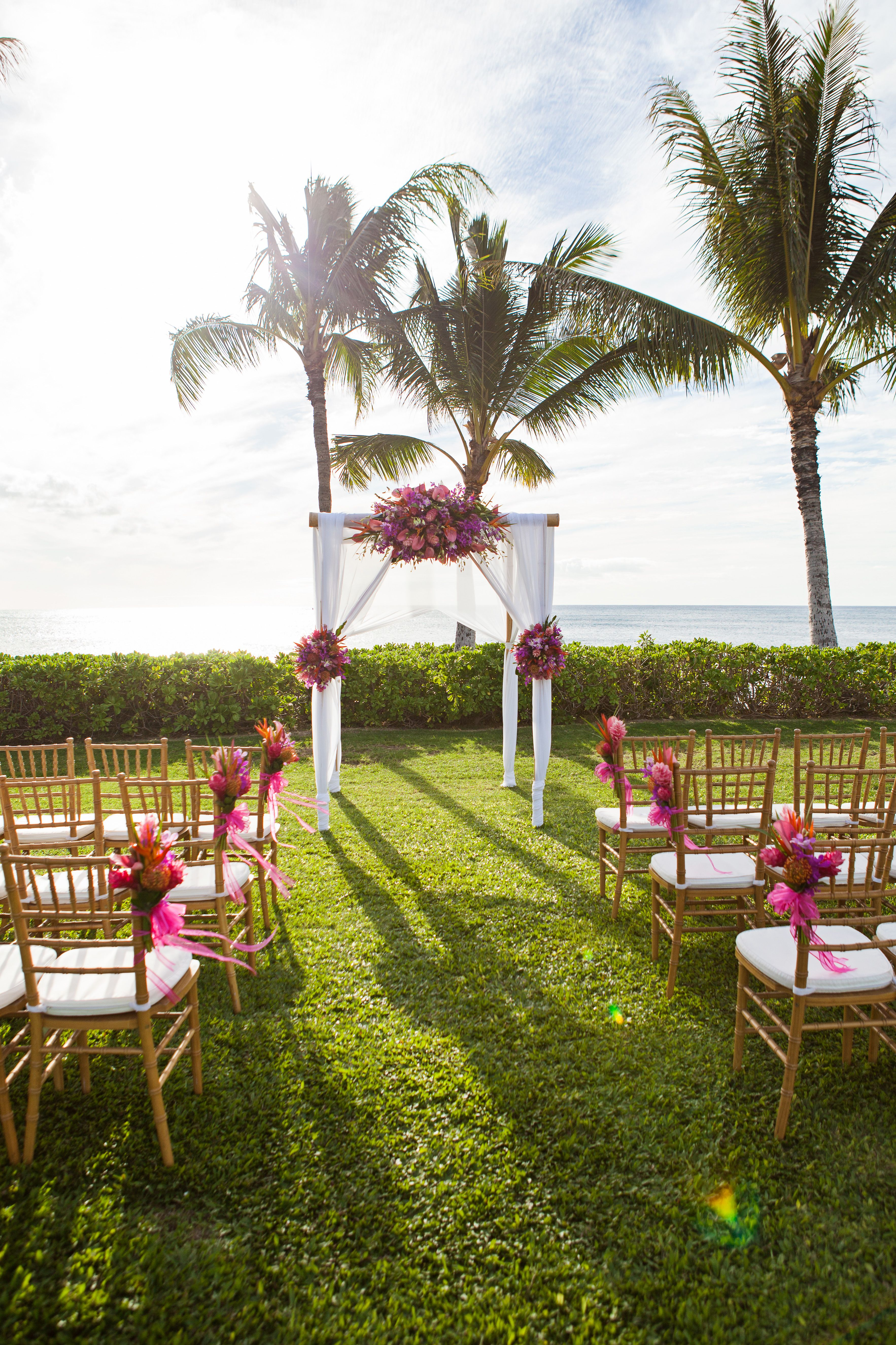 Ceremony Decor For Saori And Edmund S Paradise Cove Wedding Planned By Hawaii Weddings Tori Rogers Flowers The Blooming Pot
