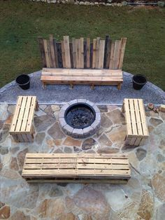 DIY Pallet Ideas - 30 Pics Nice outdoor seating.  Just add cushions and wood in the pit, iced tea,some marshmallows and we are set!Nice outdoor seating.  Just add cushions and wood in the pit, iced tea,some marshmallows and we are set!
