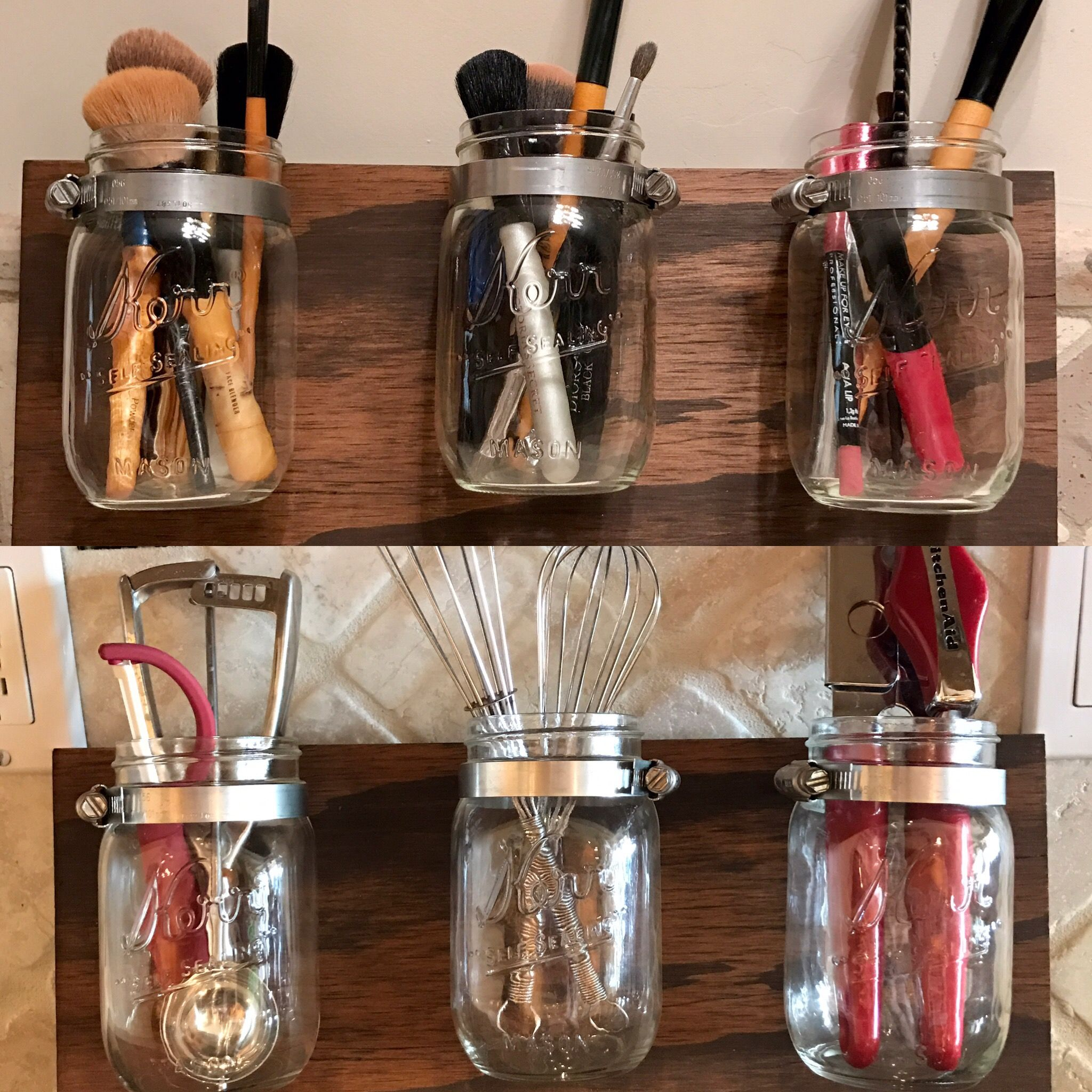 Mason Jar Organizer! Great for holding kitchen utensils, makeup, or for decoration!