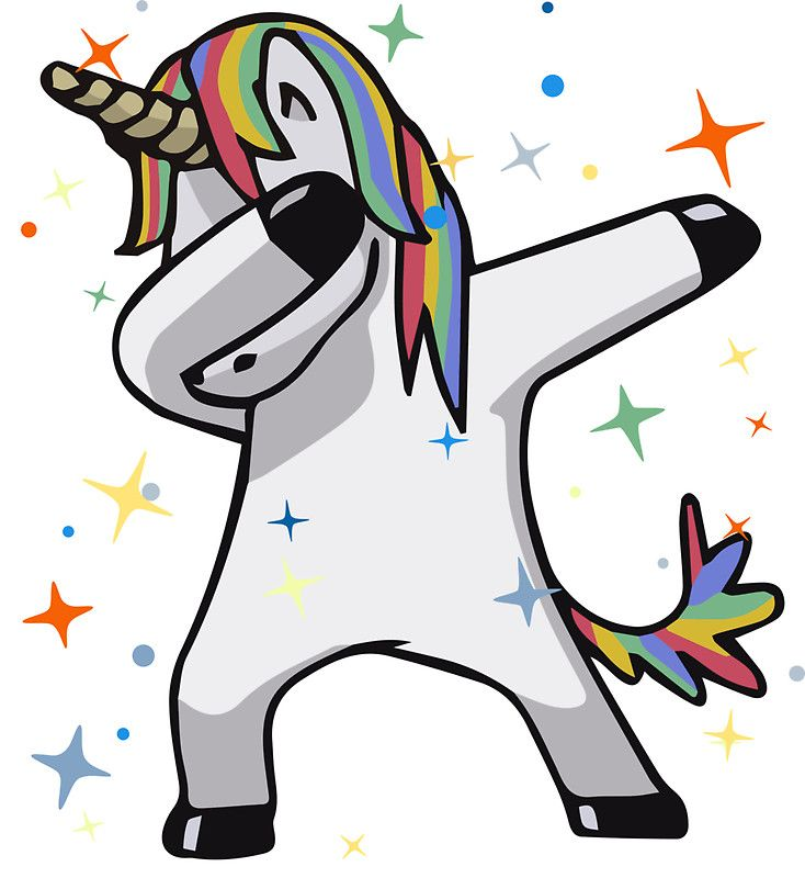 Dabbing Unicorn Stickers By Tingsy Design By Humans Unicorn Stickers Cute Drawings Dabs