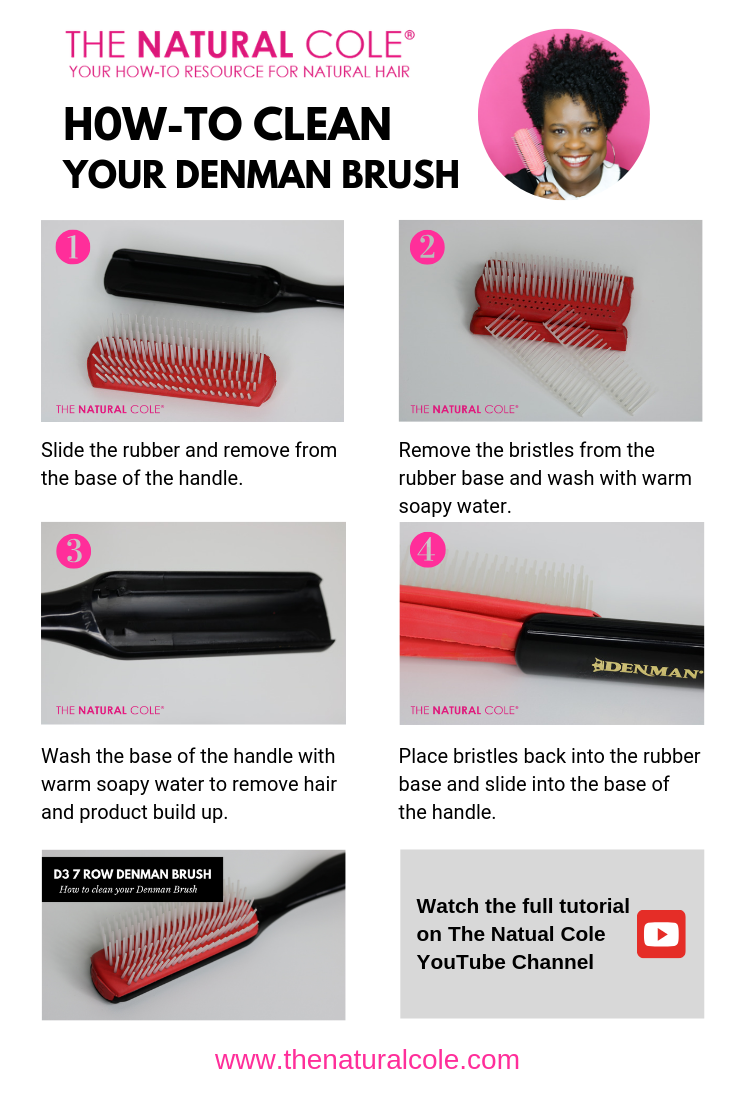 How To Clean Your Denman Brush The Natural Cole Natural Hair Styles Types Of Hair Brushes Curly Hair Tips