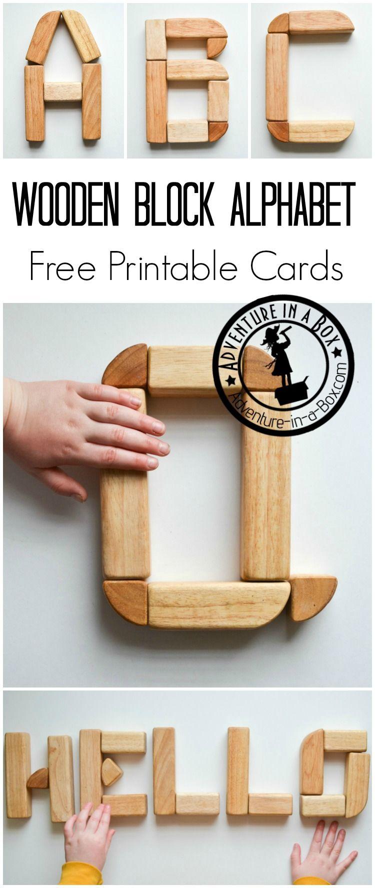 Wooden Block Alphabet Free Printable Cards Blocks Preschool
