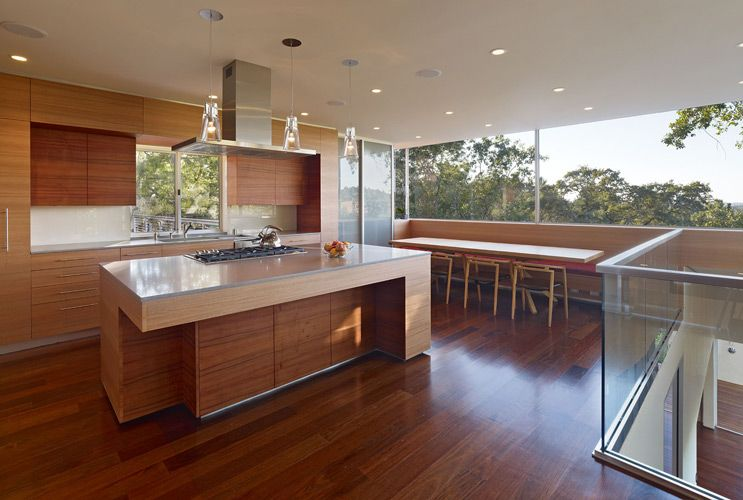 Koa And Eucalyptus Cabinetry In Field Architecture S Hillside House Hillside House Kitchen Design Home Garden Design