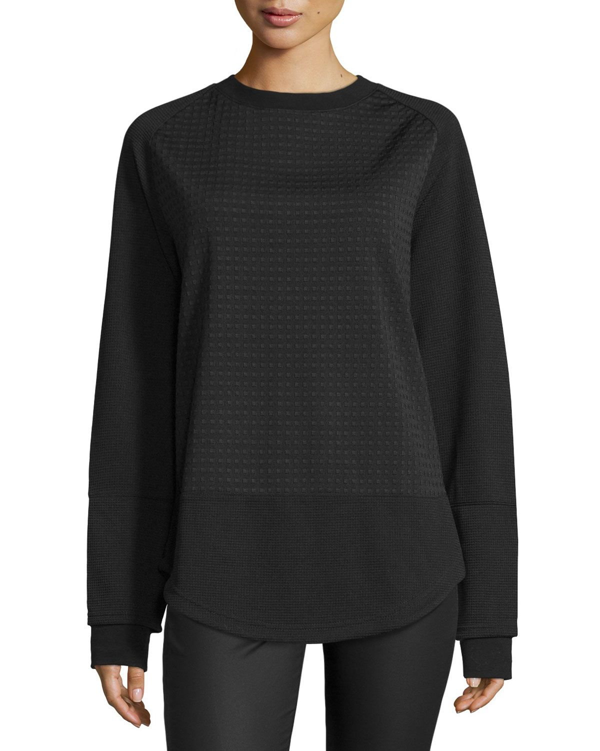 Longsleeve textured pullover black womenus size l opening
