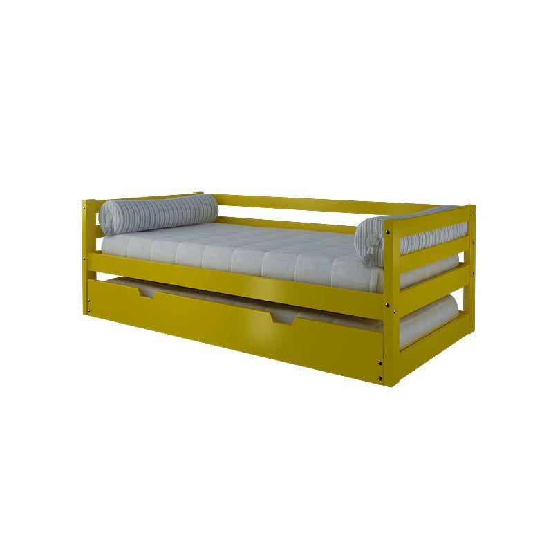 Sof cama madeira maci a pinus na cor laca amarelo com - Cama divan infantil ...