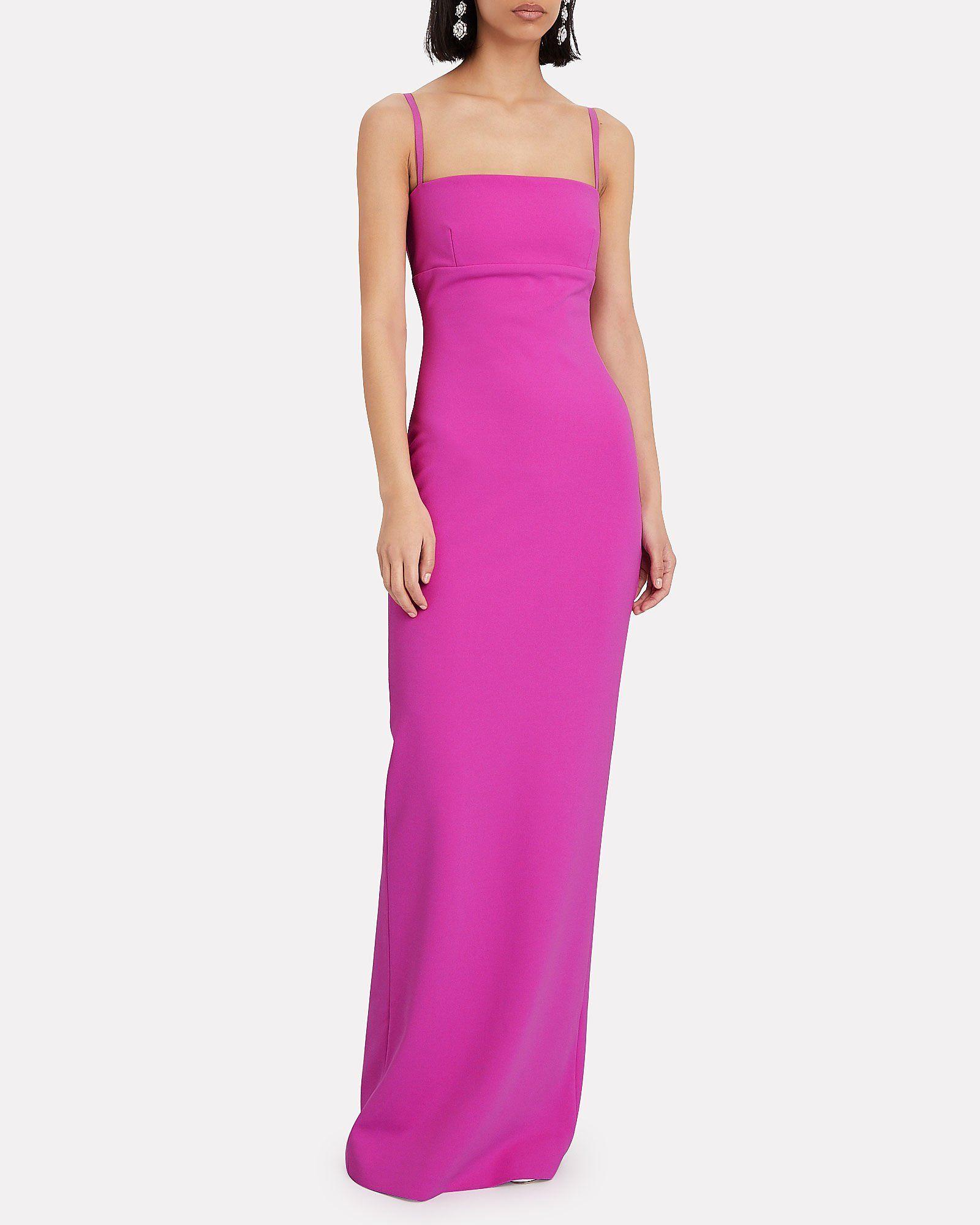 Riley Sleeveless Crepe Gown Fuschia Bridesmaid Dresses Designer Party Dresses Sleeveless Gown [ 2000 x 1600 Pixel ]