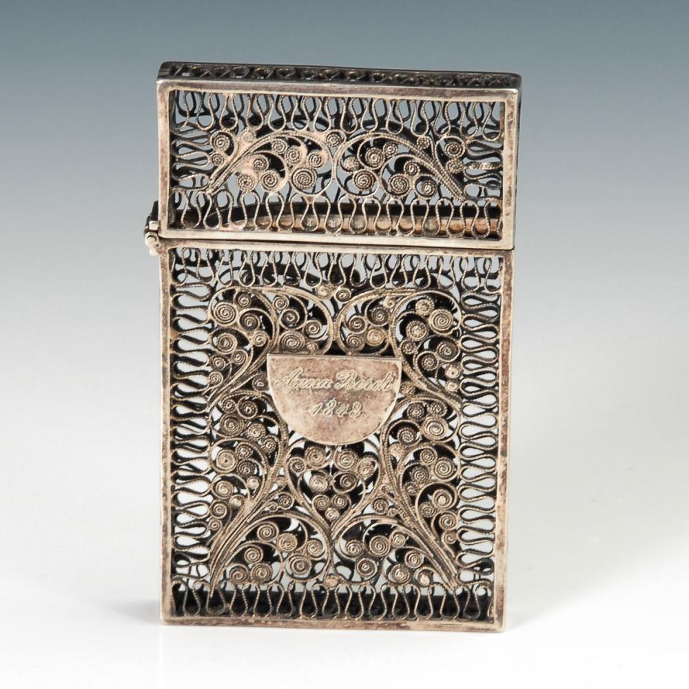 Silberfiligran Visitenkartenetui Antiques Decorative