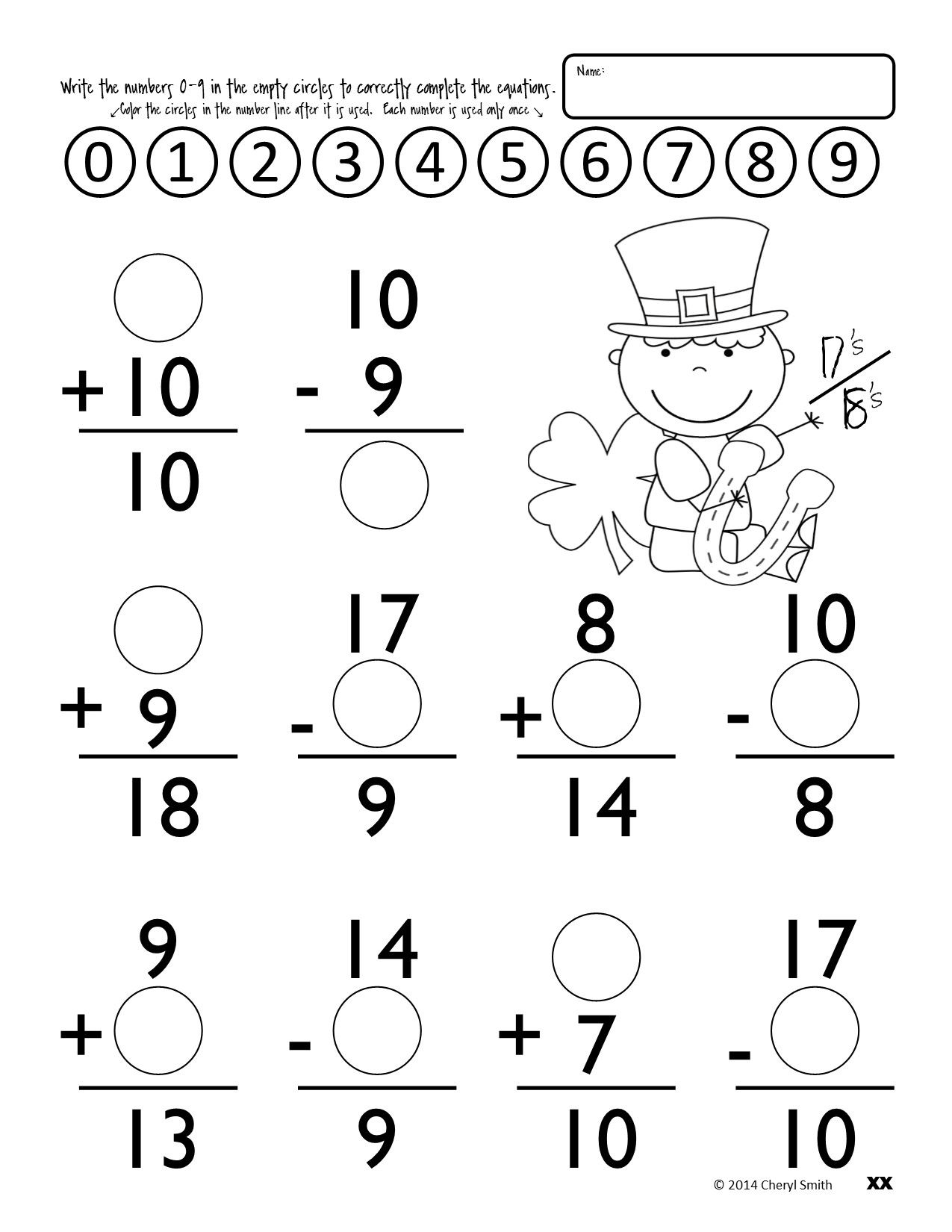 Worksheet Subtraction Facts To 18 math facts st patricks day easter addition and subtraction 0 18