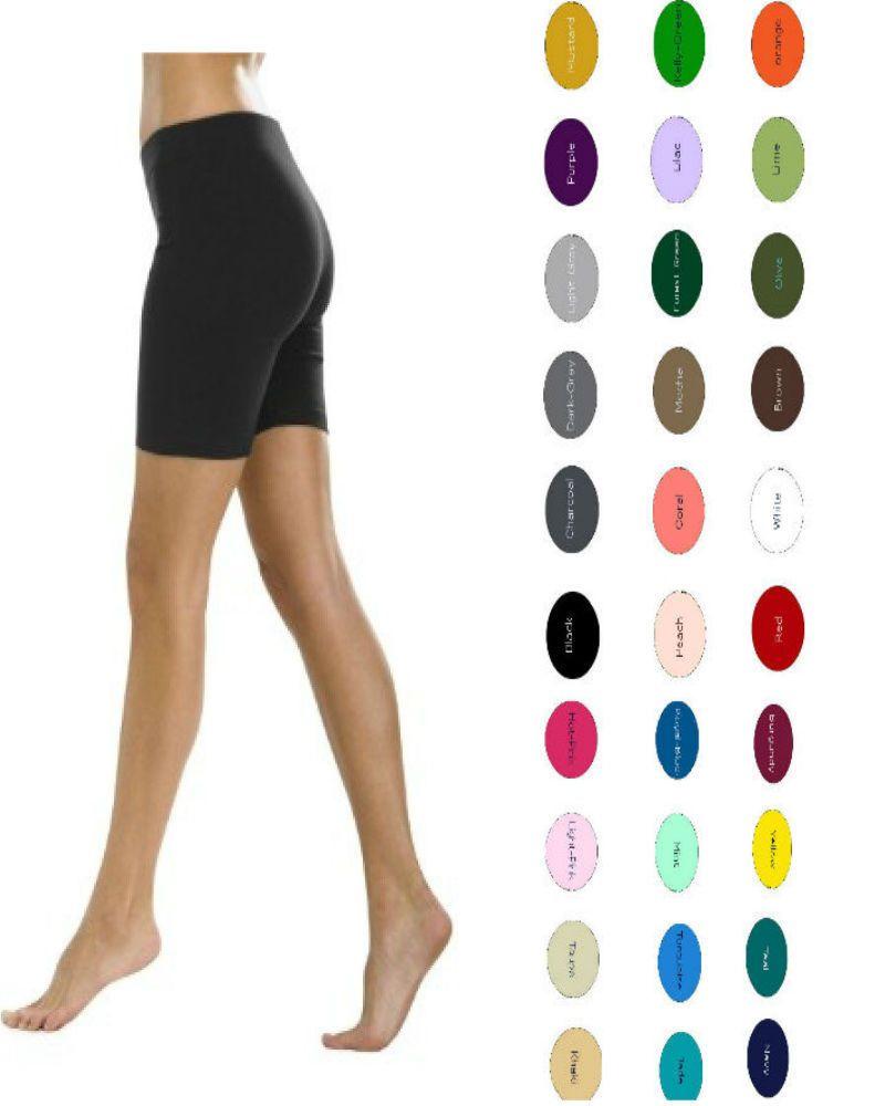 b42e415f59f49 Women's Cotton Spandex Gym Bike Shorts S-5Xl 32 Colors Usa (Spandex Tight)