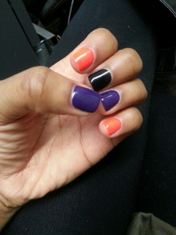 Different Color Nails Purple Orange Black Halloween Nails Black Halloween Nails Purple Nail Art