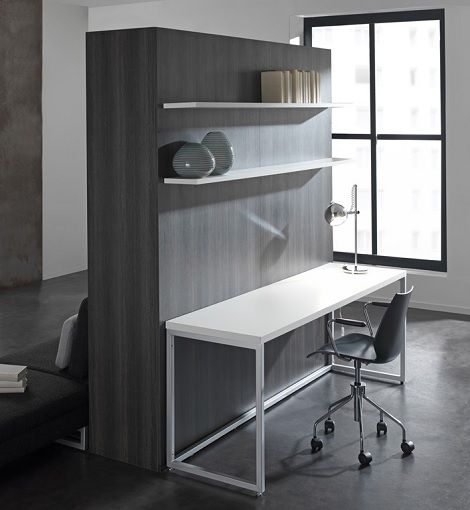 bureau loft met boeken planken opklapbed kastenwand met bed