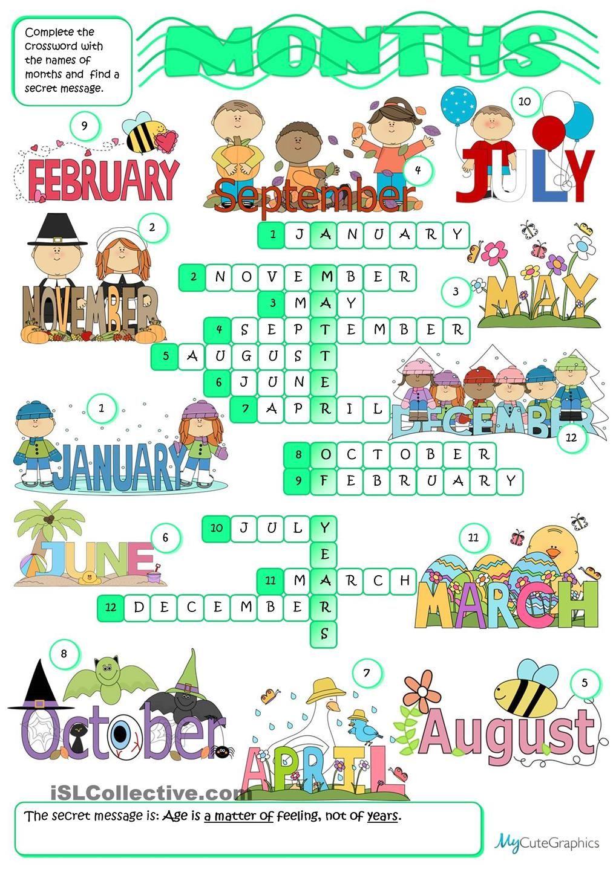 Months Crossword Crossword English Activities English Lessons [ 1440 x 1018 Pixel ]