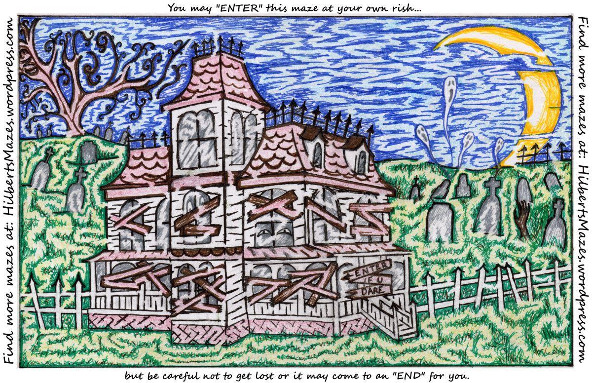 Free Printable Hand Drawn Hand Drawn Haunted House Maze