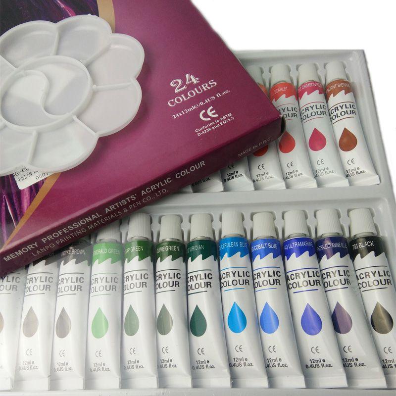 12 18 24colors 12ml Acrylic Paint Set Diy Water Resistant