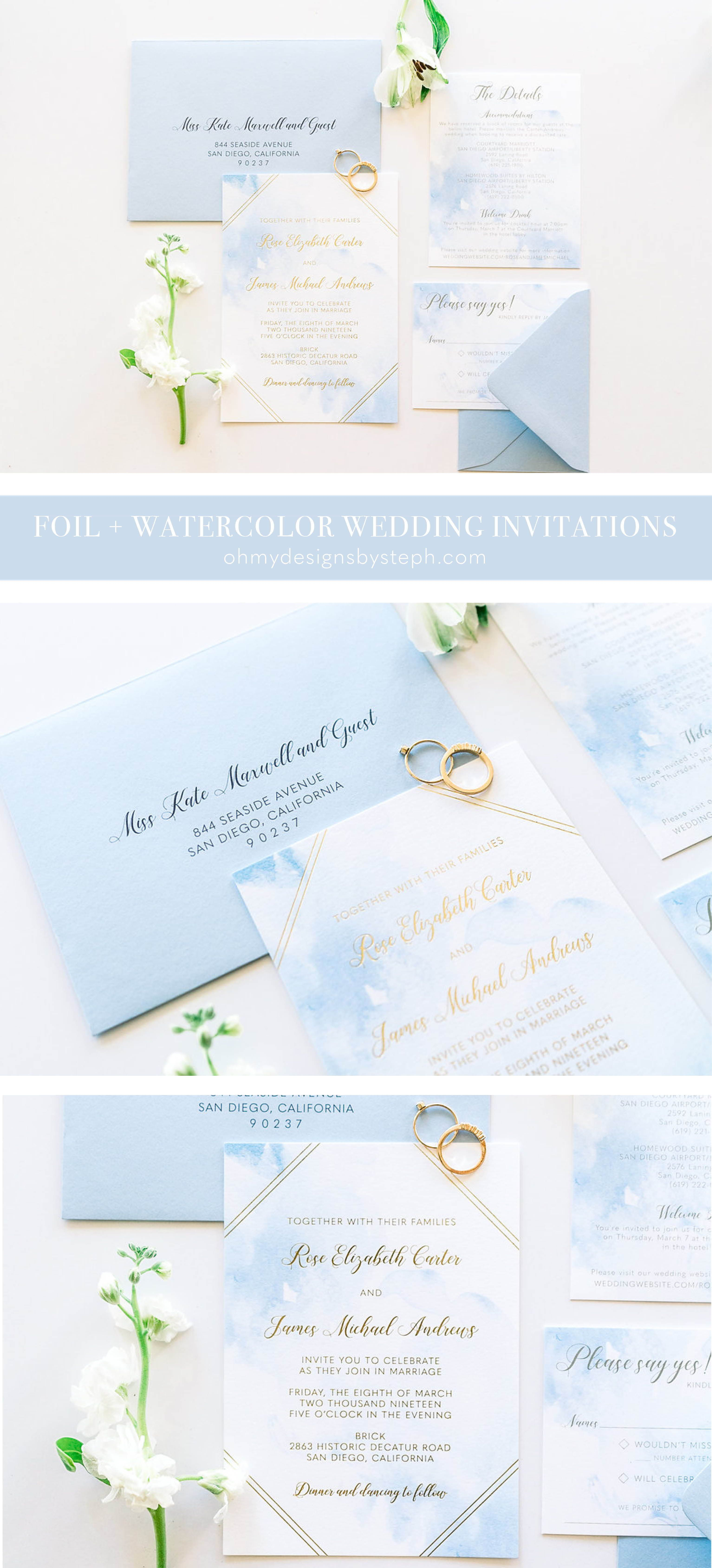 Gold Foil Watercolor Wedding Invitation Suite Sample Destination