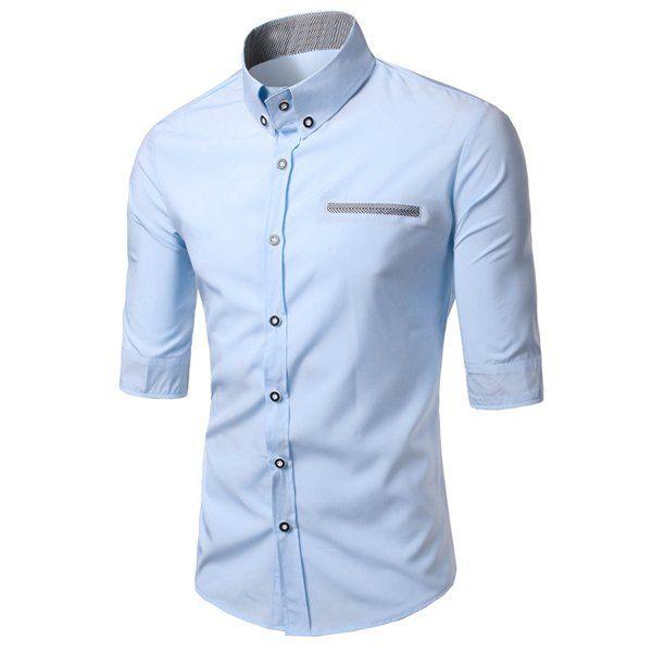 Modish Turn-Down Collar Color Block Purfled Pocket Half Sleeve ...