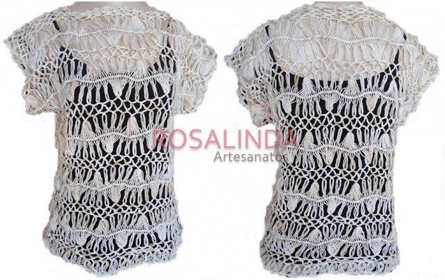 Rosalinda Artesanato: Blusa de Crochê de Grampo - Modelo 3