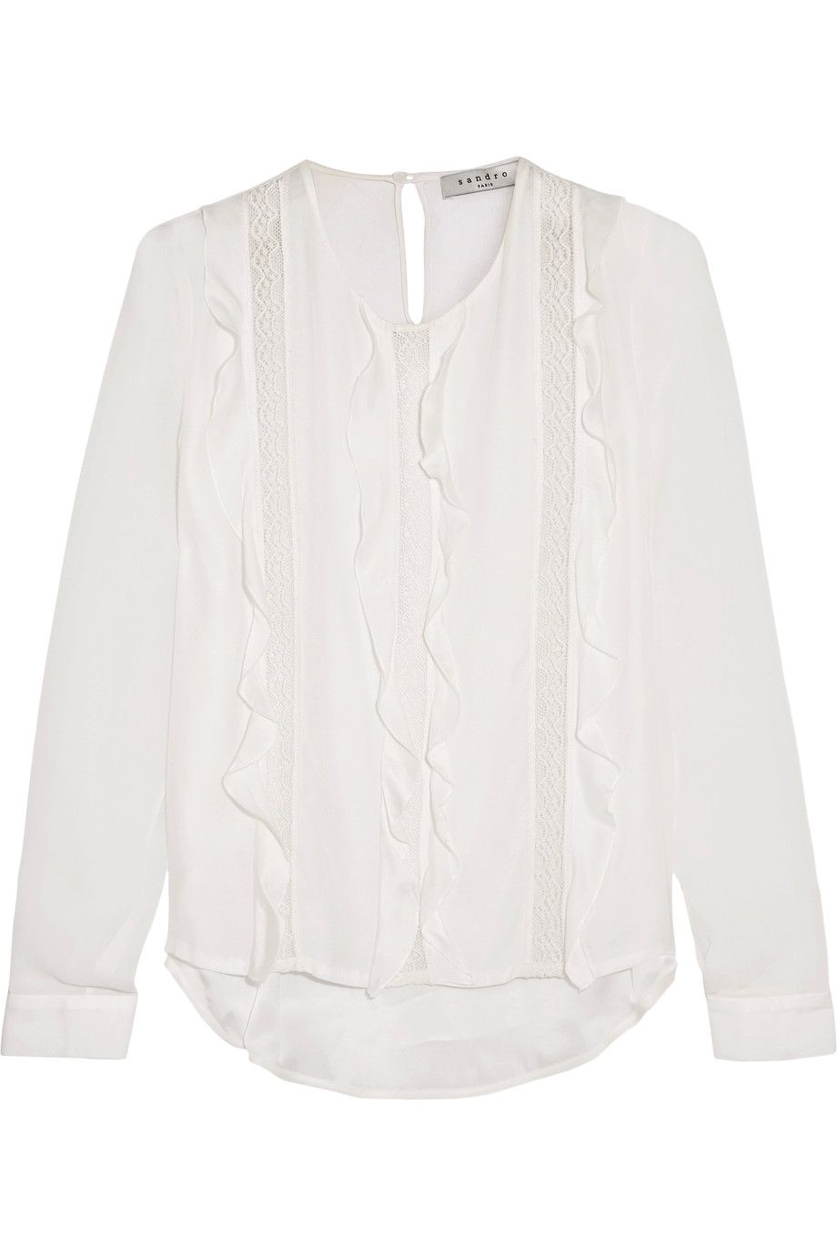 SANDRO Esty ruffled chiffon-paneled lace-trimmed jersey top. #sandro #cloth #top