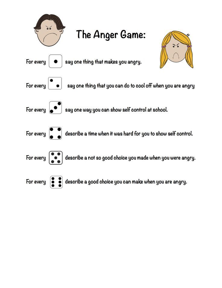 The Anger Game - Used with one dice and helpful for kids working on ...