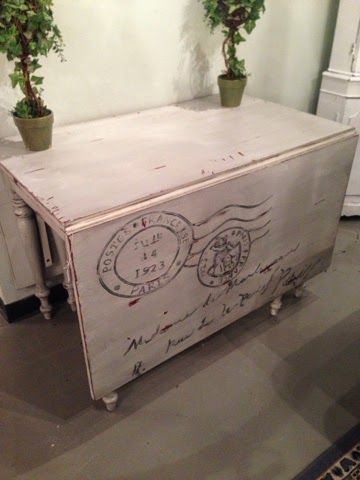 french stenciled drop leaf table