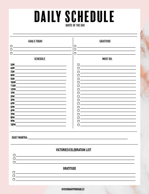 21+ Daily Schedule Form