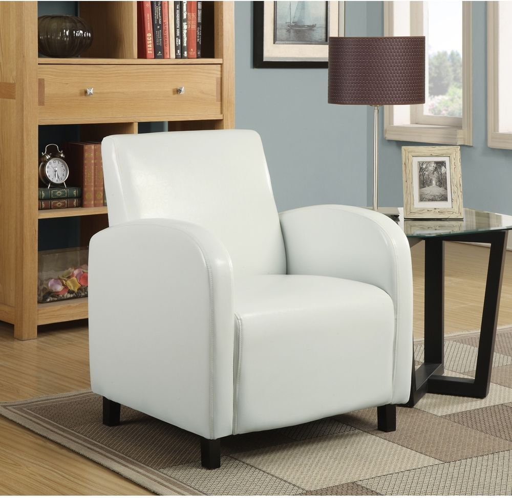 Leatherette Accent Chair White Contemporary Cushion Seat Living Room ...